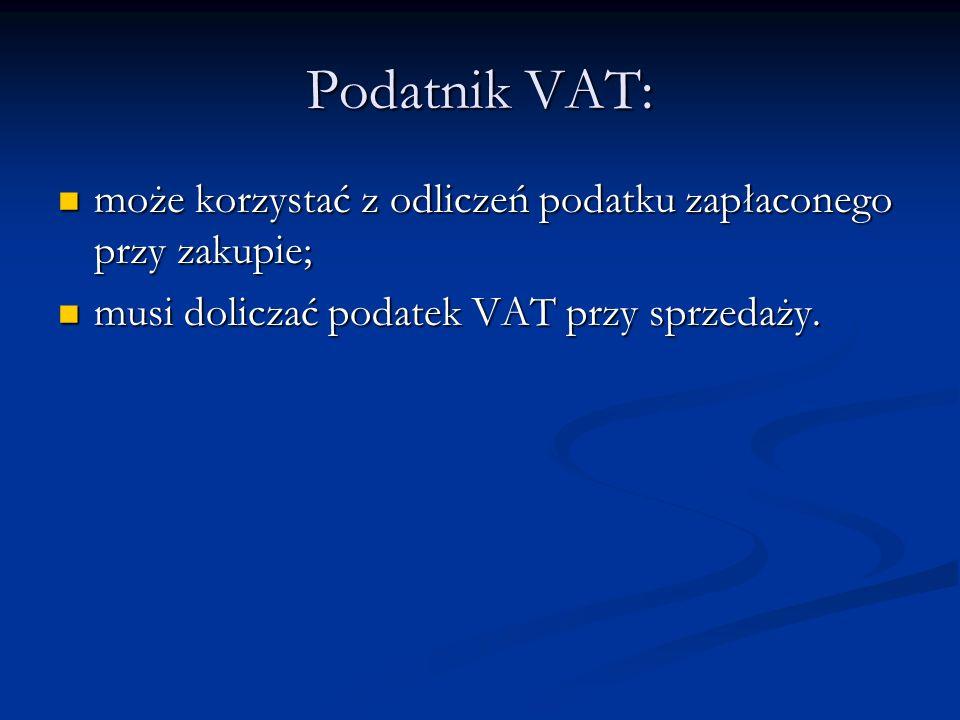 Podatnik VAT:może korzystać z odliczeń podatku zapłaconego przy zakupie; musi doliczać podatek VAT przy sprzedaży.