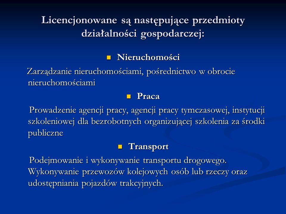 Licencjonowane są następujące przedmioty działalności gospodarczej: