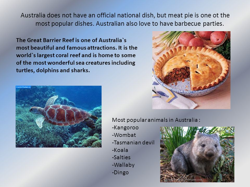 Australia does not have an official national dish, but meat pie is one ot the most popular dishes. Australian also love to have barbecue parties.