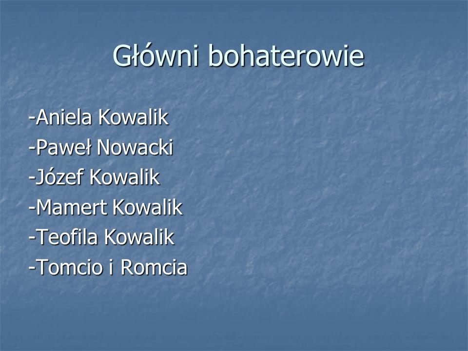 Główni bohaterowie -Aniela Kowalik -Paweł Nowacki -Józef Kowalik
