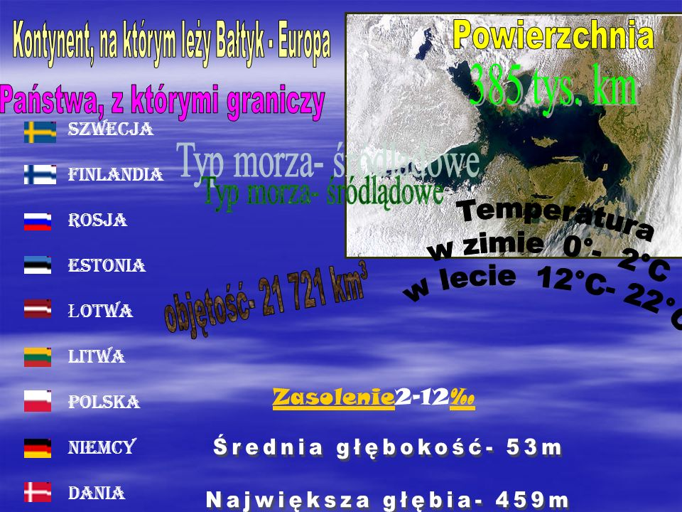 385 tys. km Powierzchnia Typ morza- śródlądowe objętość- 21 721 km³