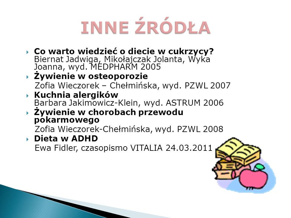 INNE ŹRÓDŁA Co warto wiedzieć o diecie w cukrzycy Biernat Jadwiga, Mikołajczak Jolanta, Wyka Joanna, wyd. MEDPHARM 2005.