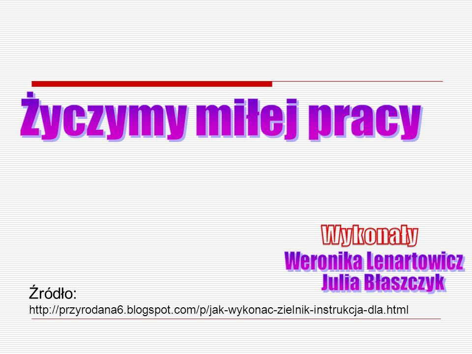 Życzymy miłej pracy Wykonały Weronika Lenartowicz Julia Błaszczyk