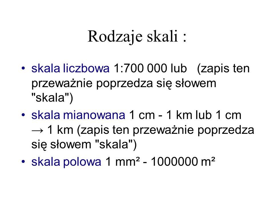 Rodzaje skali : skala liczbowa 1:700 000 lub (zapis ten przeważnie poprzedza się słowem skala )