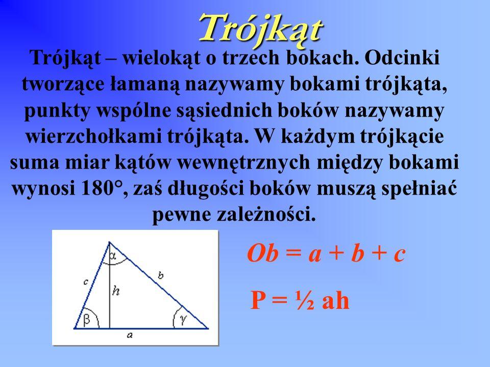 Trójkąt Ob = a + b + c P = ½ ah