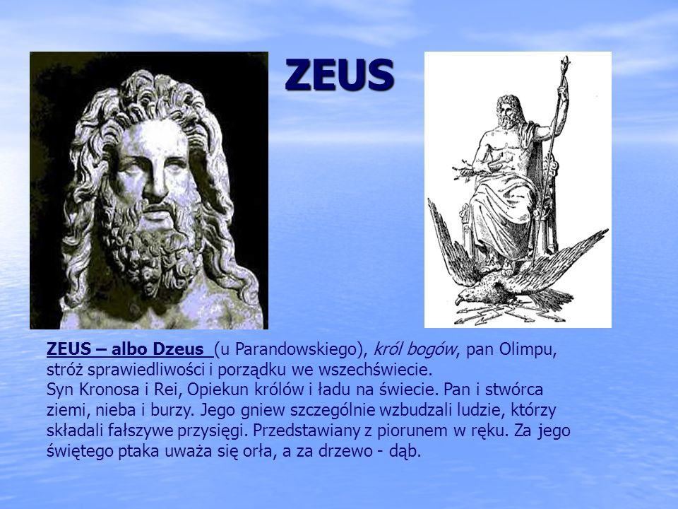 ZEUS ZEUS – albo Dzeus (u Parandowskiego), król bogów, pan Olimpu, stróż sprawiedliwości i porządku we wszechświecie.