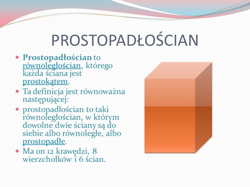 PROSTOPADŁOŚCIAN Prostopadłościan to równoległościan, którego każda ściana jest prostokątem. Ta definicja jest równoważna następującej:
