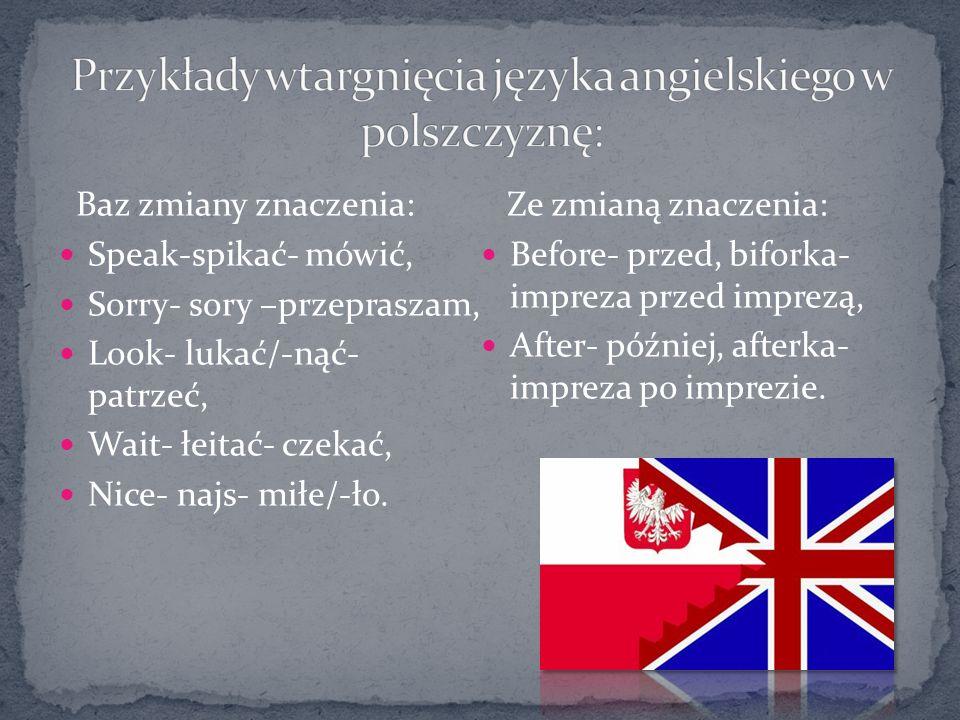 Przykłady wtargnięcia języka angielskiego w polszczyznę: