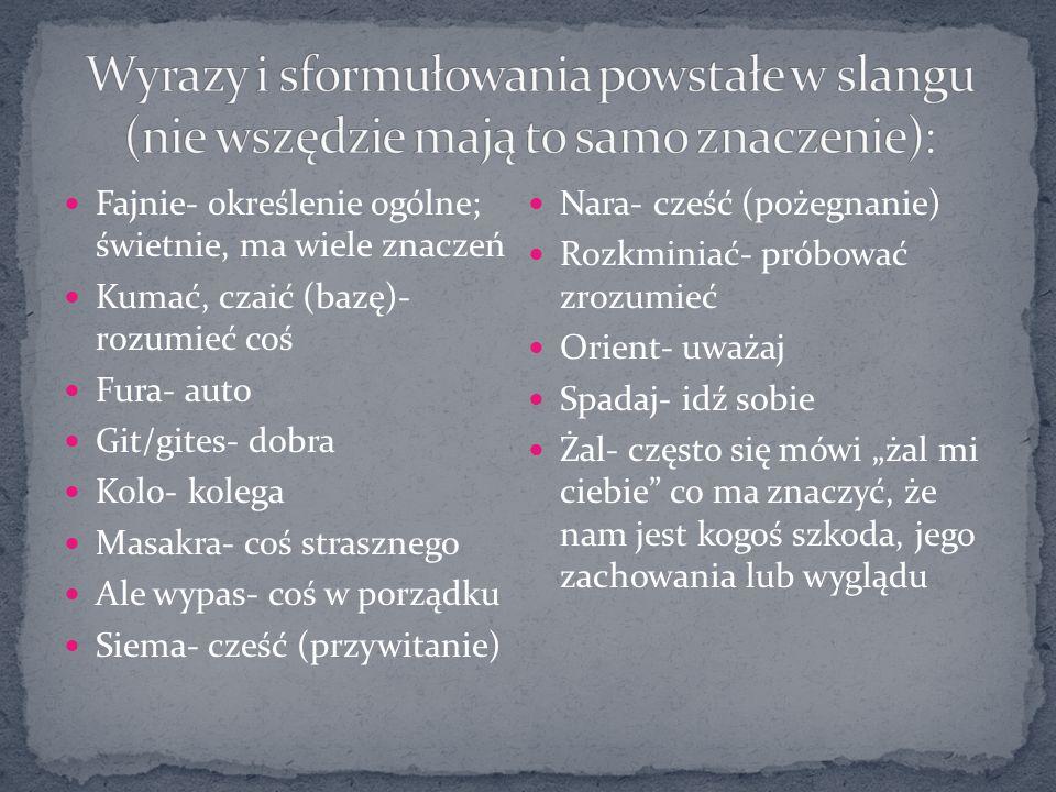 Wyrazy i sformułowania powstałe w slangu (nie wszędzie mają to samo znaczenie):