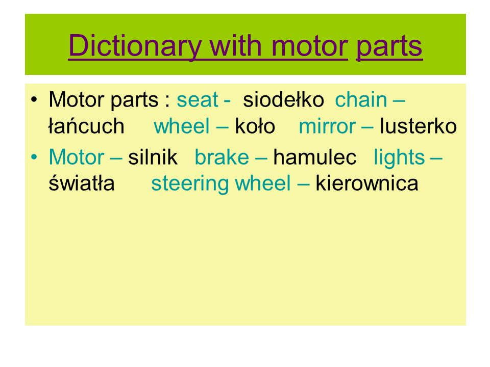 Dictionary with motor parts