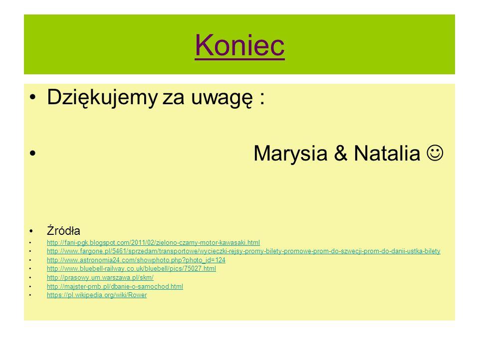 Koniec Dziękujemy za uwagę : Marysia & Natalia  Źródła