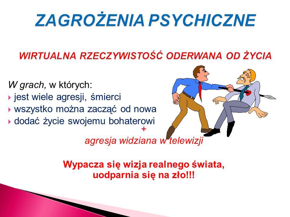 ZAGROŻENIA PSYCHICZNE WIRTUALNA RZECZYWISTOŚĆ ODERWANA OD ŻYCIA