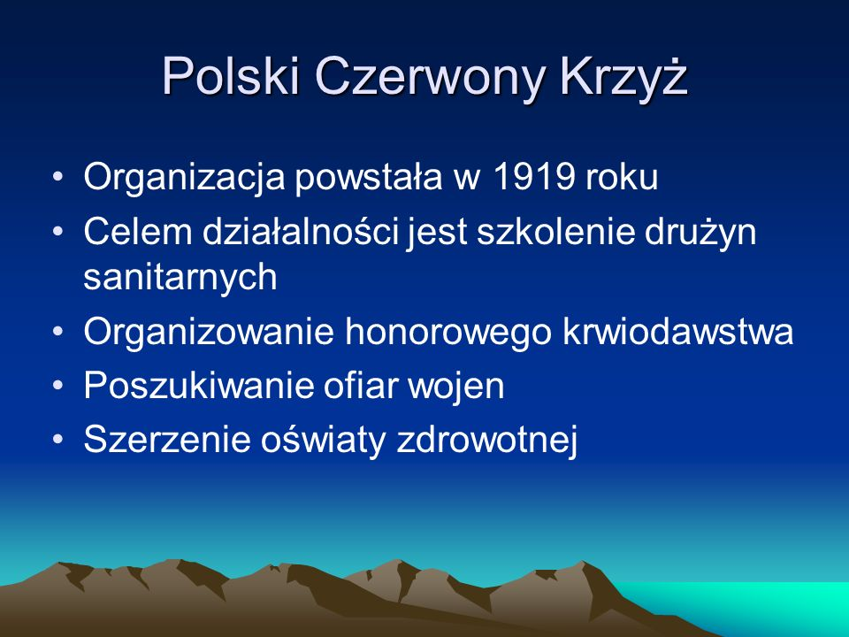Polski Czerwony Krzyż Organizacja powstała w 1919 roku