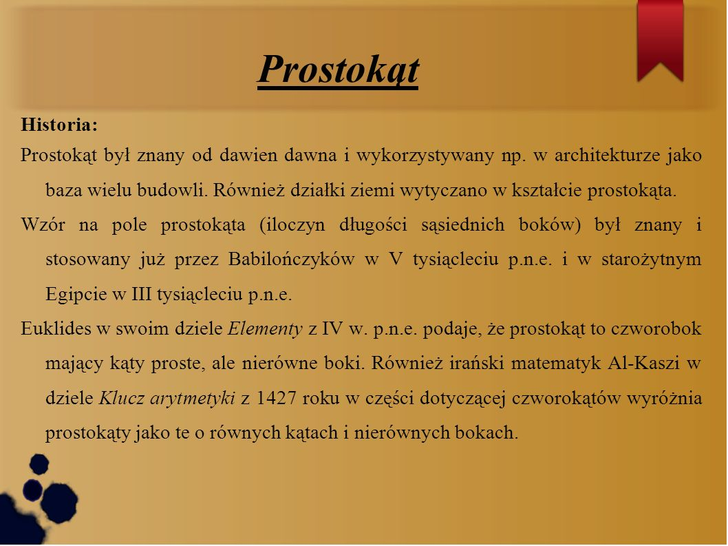 Prostokąt Historia: