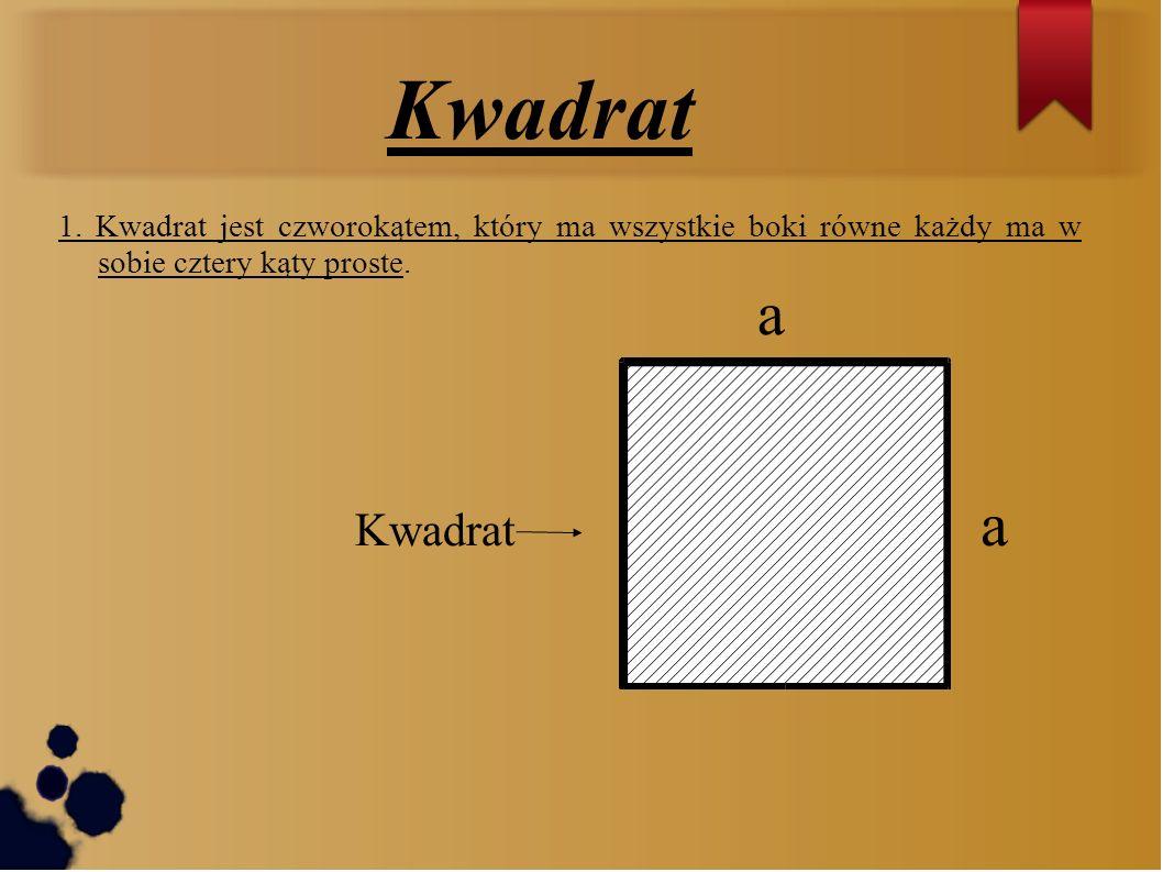 Kwadrat1. Kwadrat jest czworokątem, który ma wszystkie boki równe każdy ma w sobie cztery kąty proste.