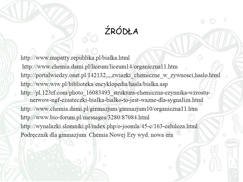 ŹRÓDŁA http://www.mspatty.republika.pl/bialka.html
