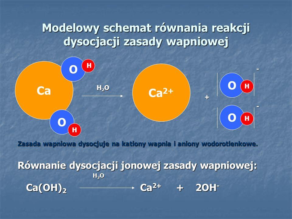 Modelowy schemat równania reakcji dysocjacji zasady wapniowej