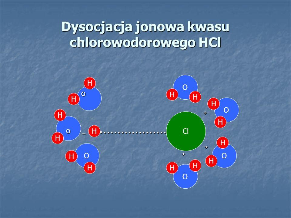 Dysocjacja jonowa kwasu chlorowodorowego HCl