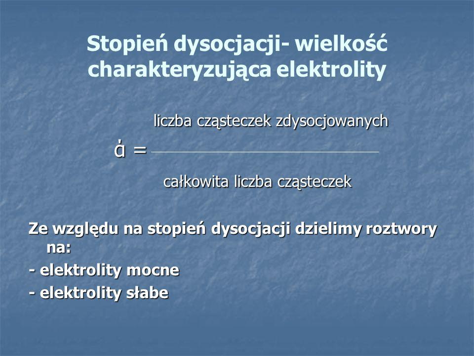 Stopień dysocjacji- wielkość charakteryzująca elektrolity