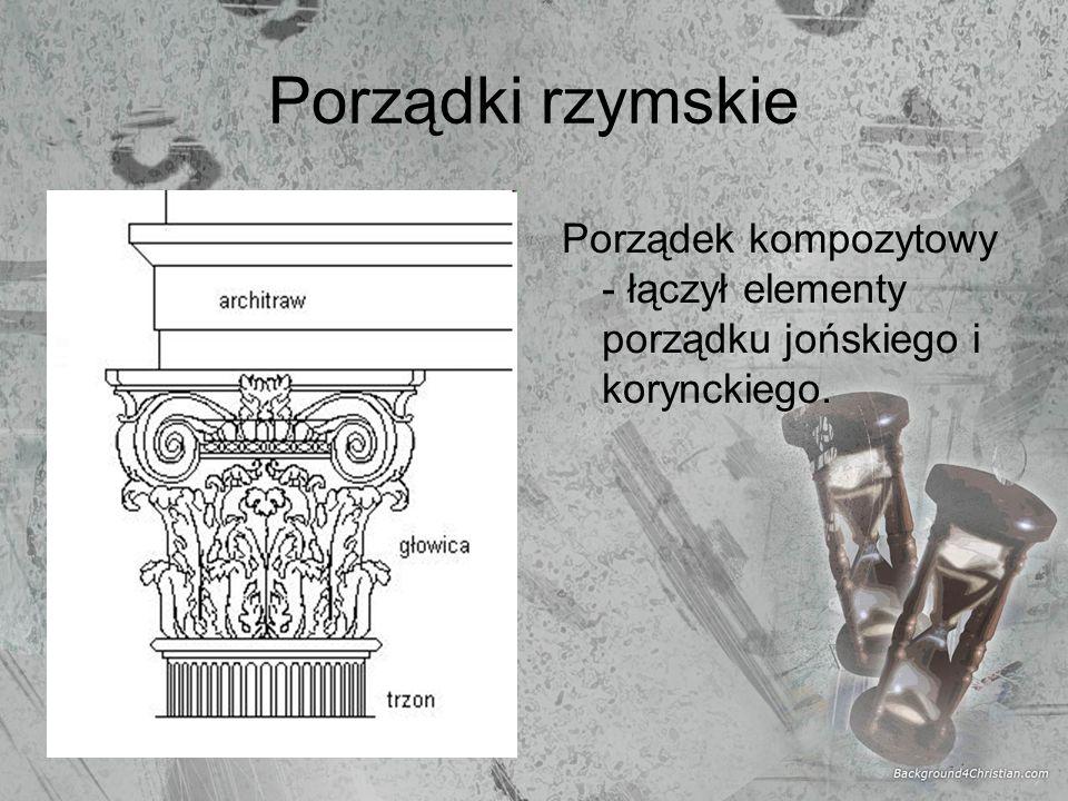 Porządki rzymskie Porządek kompozytowy - łączył elementy porządku jońskiego i korynckiego.