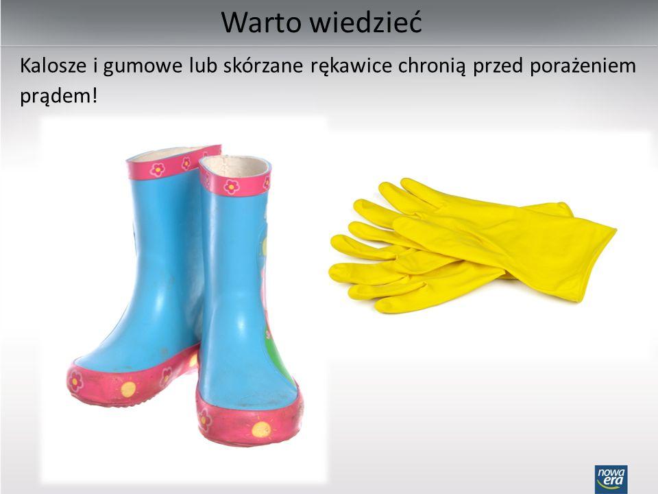 Warto wiedzieć Kalosze i gumowe lub skórzane rękawice chronią przed porażeniem prądem!