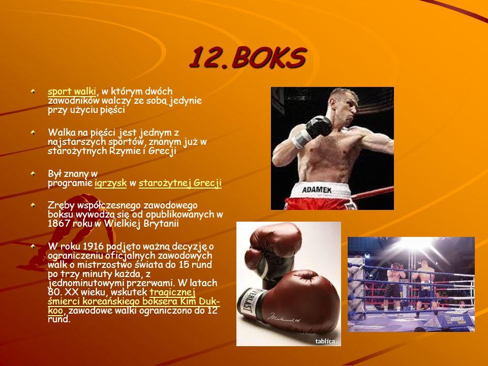 12.BOKS sport walki, w którym dwóch zawodników walczy ze sobą jedynie przy użyciu pięści.