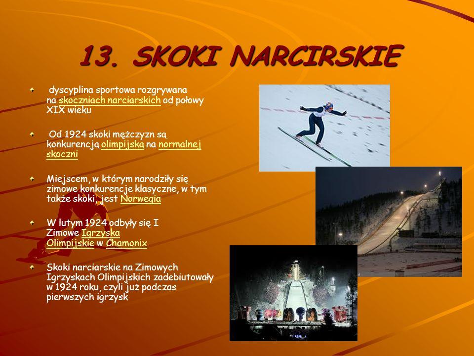 13. SKOKI NARCIRSKIE dyscyplina sportowa rozgrywana na skoczniach narciarskich od połowy XIX wieku.