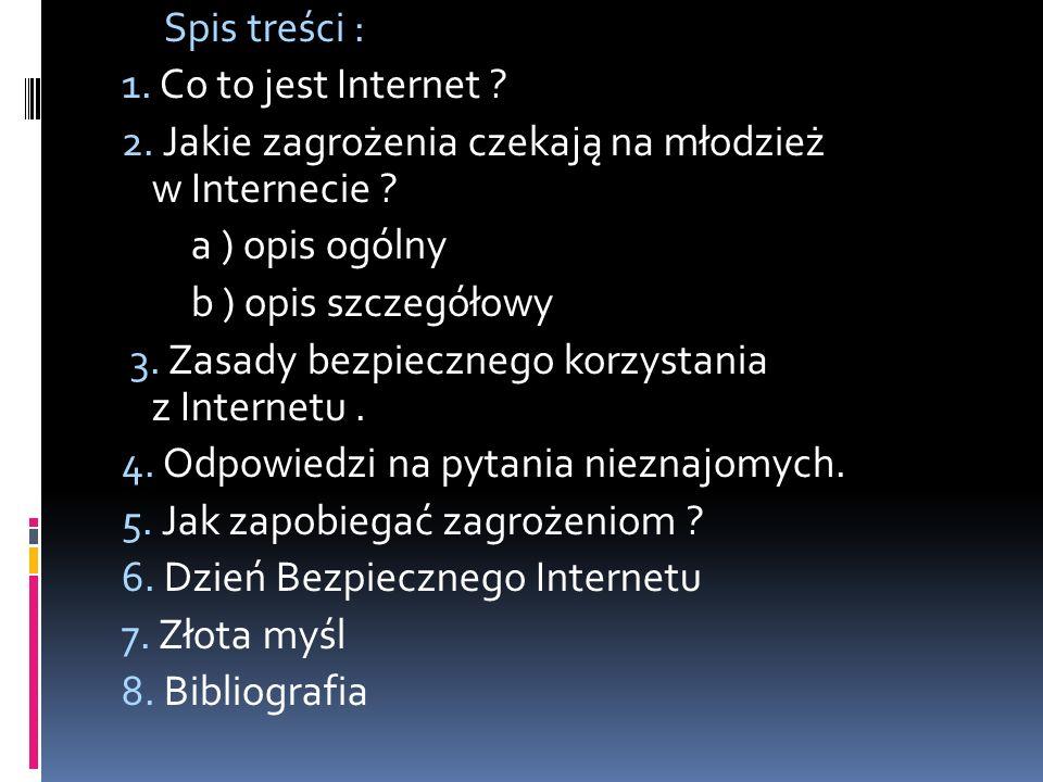 Spis treści : 1. Co to jest Internet 2. Jakie zagrożenia czekają na młodzież w Internecie