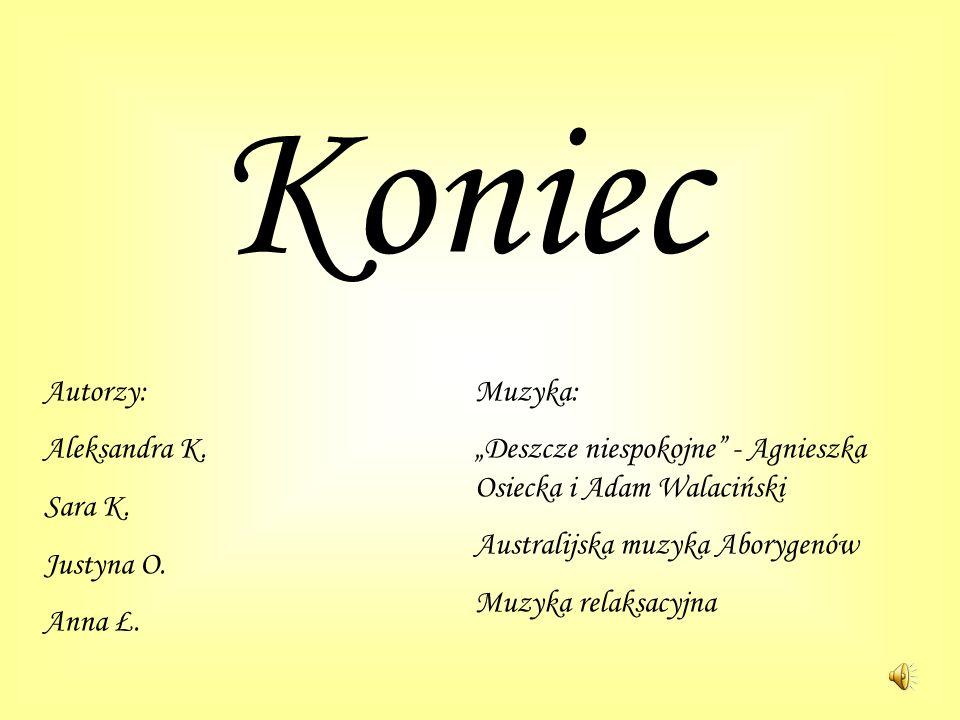 Koniec Autorzy: Aleksandra K. Sara K. Justyna O. Anna Ł. Muzyka: