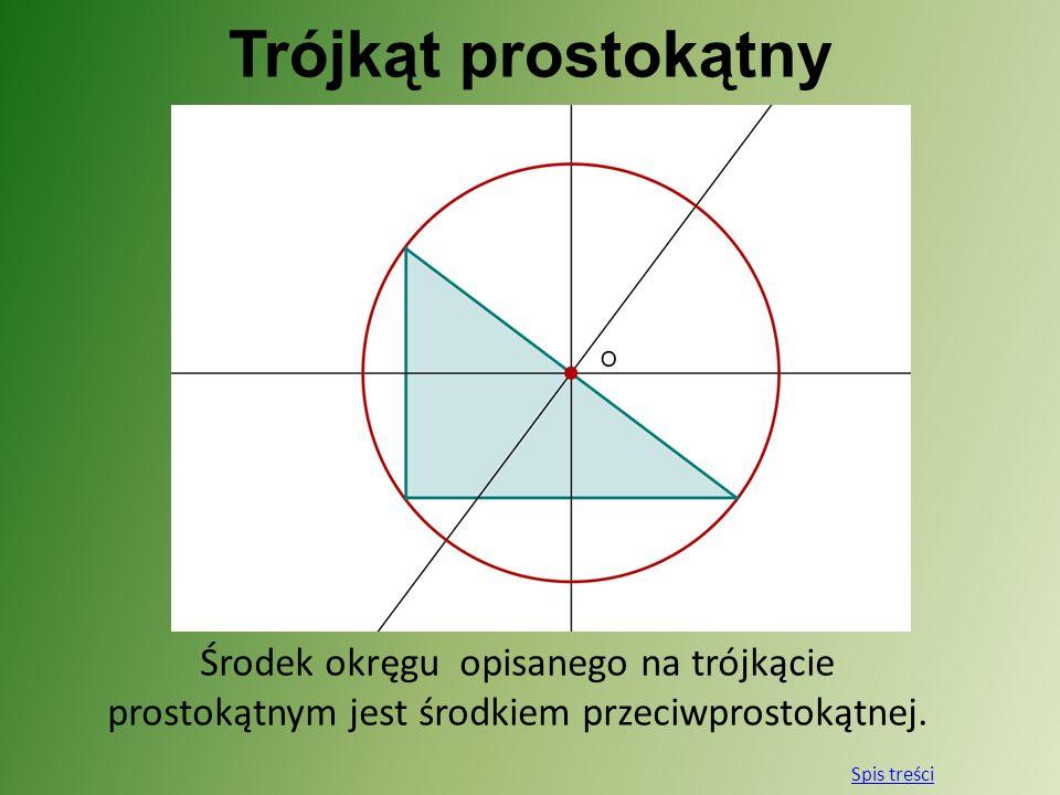 Trójkąt prostokątny Środek okręgu opisanego na trójkącie prostokątnym jest środkiem przeciwprostokątnej.
