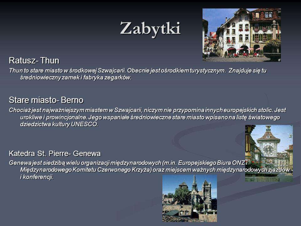 Zabytki Ratusz- Thun Stare miasto- Berno Katedra St. Pierre- Genewa
