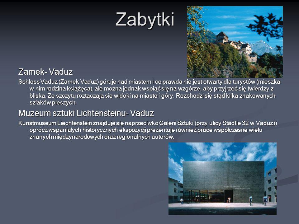 Zabytki Zamek- Vaduz Muzeum sztuki Lichtensteinu- Vaduz