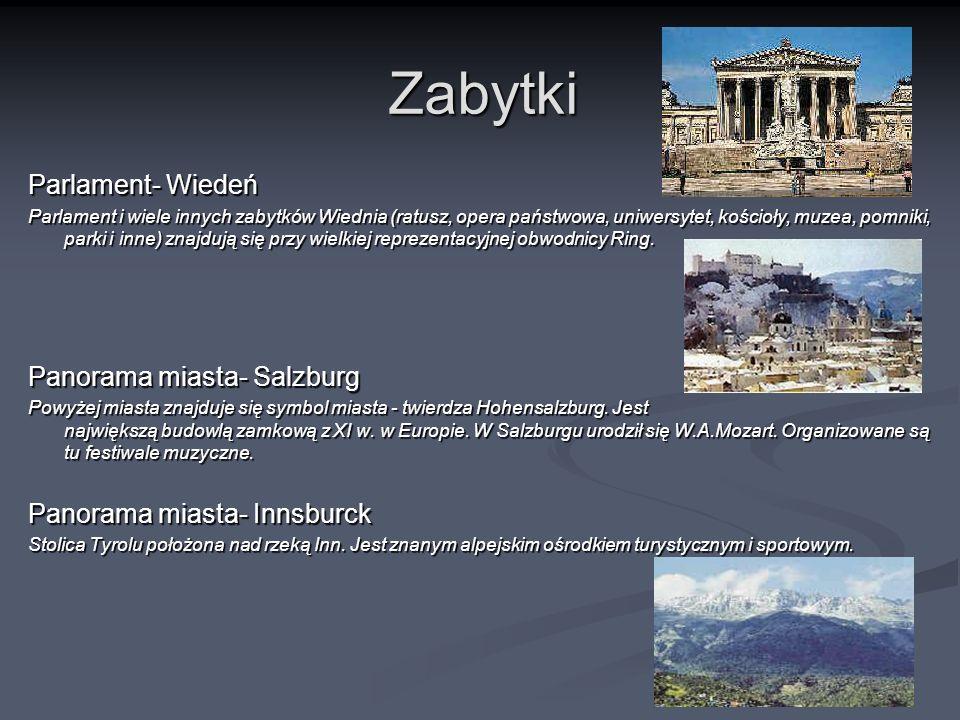 Zabytki Parlament- Wiedeń Panorama miasta- Salzburg