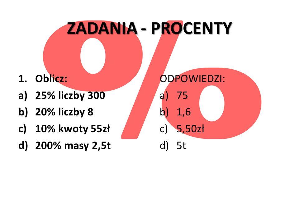 ZADANIA - PROCENTY Oblicz: 25% liczby 300 20% liczby 8 10% kwoty 55zł