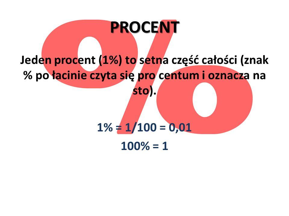 PROCENTJeden procent (1%) to setna część całości (znak % po łacinie czyta się pro centum i oznacza na sto).