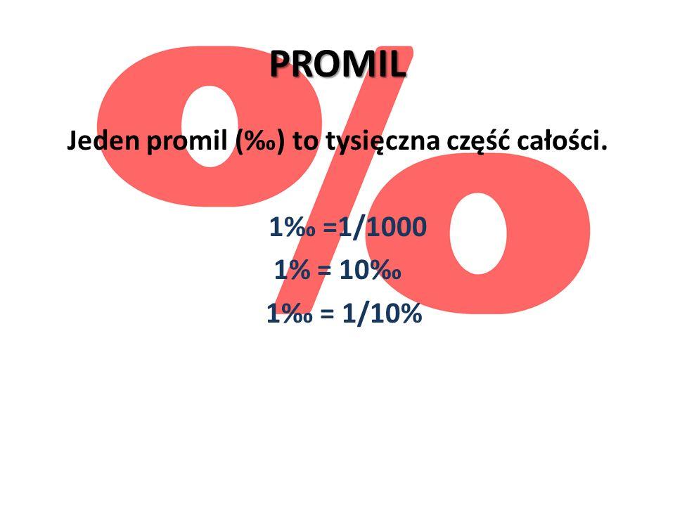 PROMIL Jeden promil (‰) to tysięczna część całości. 1‰ =1/1000 1% = 10‰ 1‰ = 1/10%