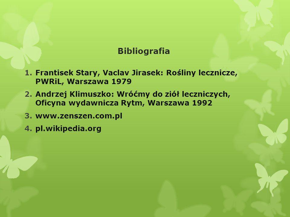 Bibliografia Frantisek Stary, Vaclav Jirasek: Rośliny lecznicze, PWRiL, Warszawa 1979.