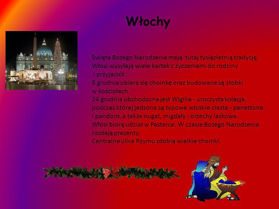 WłochyŚwięta Bożego Narodzenia mają tutaj tysiącletnią tradycję. Włosi wysyłają wiele kartek z życzeniami do rodziny i przyjaciół.