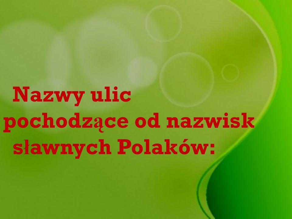 Nazwy ulic pochodzące od nazwisk sławnych Polaków: