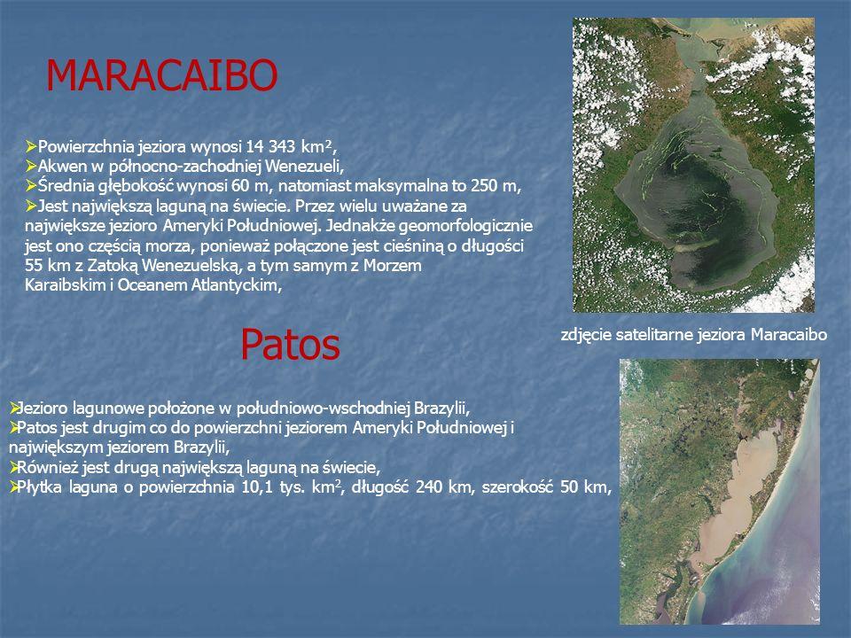 MARACAIBO Patos Powierzchnia jeziora wynosi 14 343 km²,