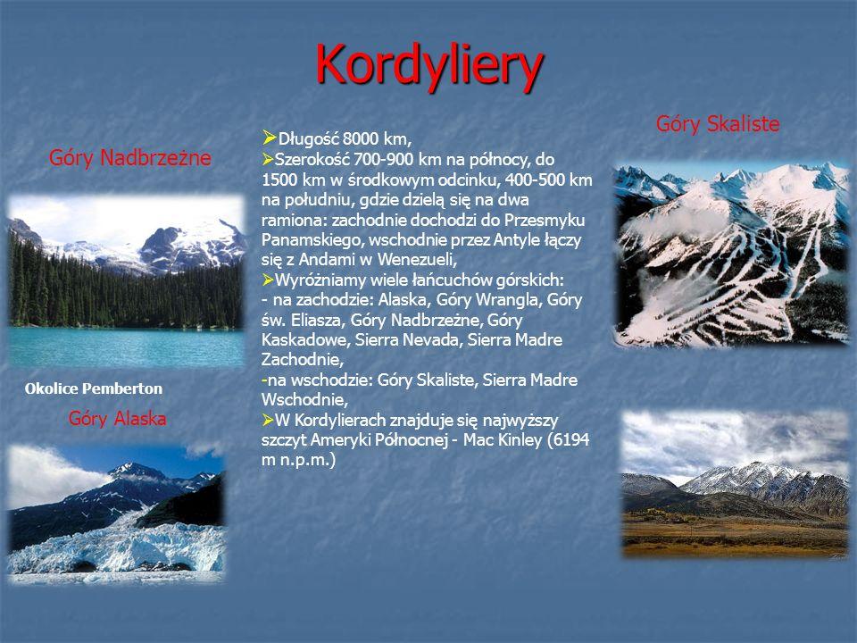 Kordyliery Góry Skaliste Długość 8000 km, Góry Nadbrzeżne Góry Alaska