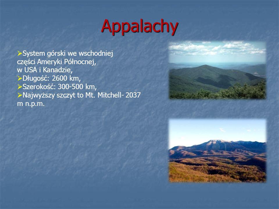 AppalachySystem górski we wschodniej części Ameryki Północnej, w USA i Kanadzie, Długość: 2600 km, Szerokość: 300-500 km,