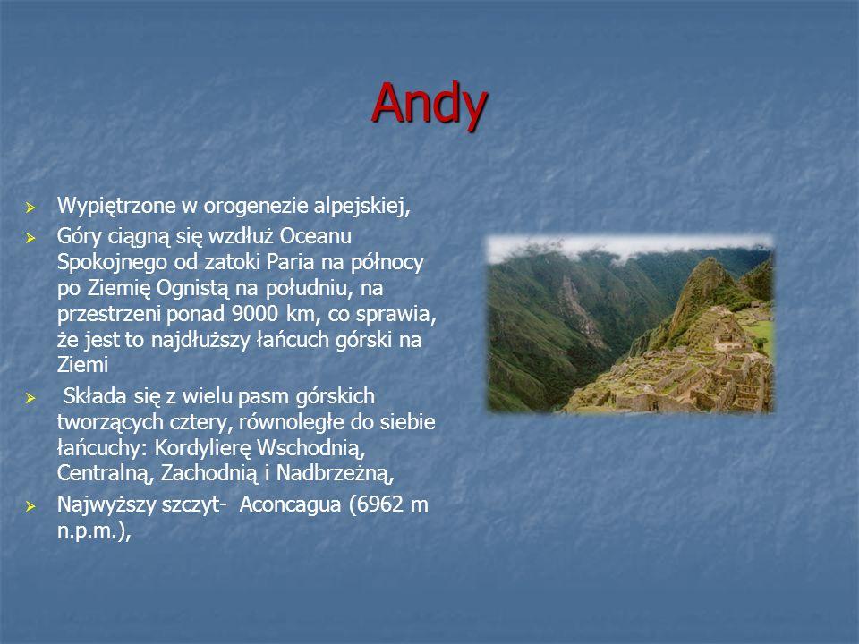 Andy Wypiętrzone w orogenezie alpejskiej,