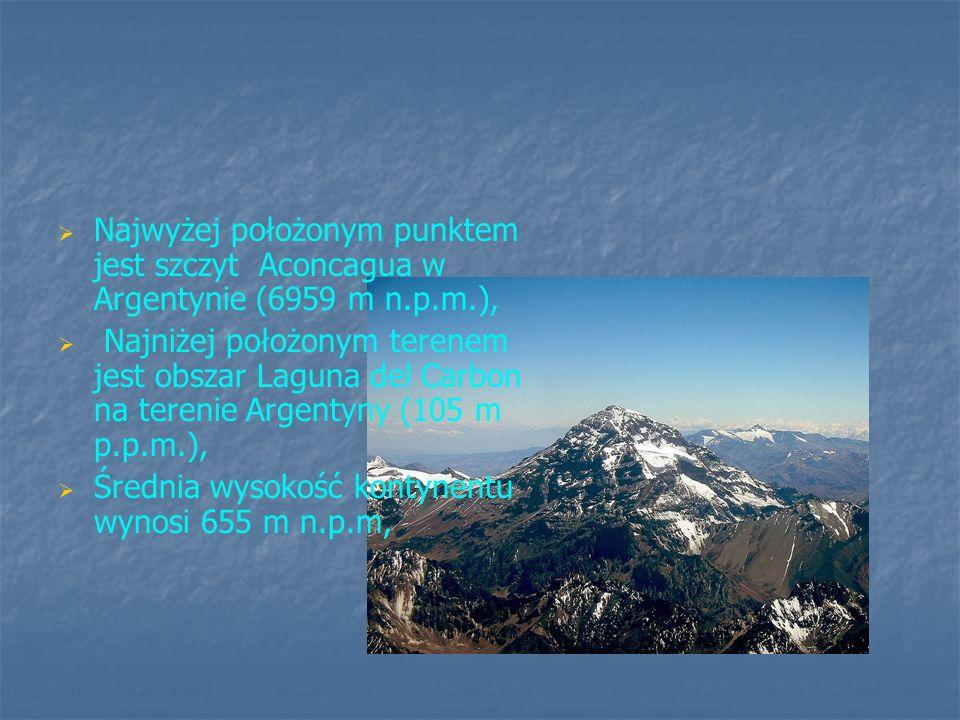 Najwyżej położonym punktem jest szczyt Aconcagua w Argentynie (6959 m n.p.m.),