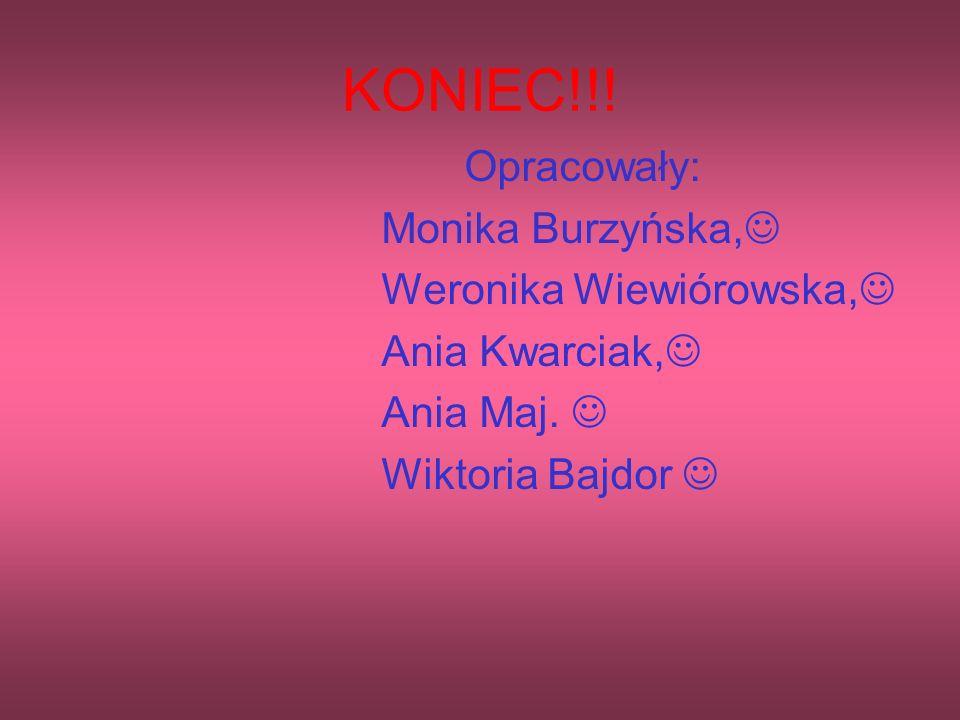 KONIEC!!! Opracowały: Monika Burzyńska, Weronika Wiewiórowska,