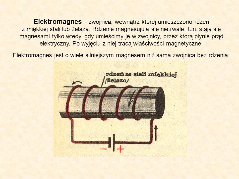 Elektromagnes – zwojnica, wewnątrz której umieszczono rdzeń z miękkiej stali lub żelaza. Rdzenie magnesujują się nietrwale, tzn. stają się magnesami tylko wtedy, gdy umieścimy je w zwojnicy, przez którą płynie prąd elektryczny. Po wyjęciu z niej tracą właściwości magnetyczne.