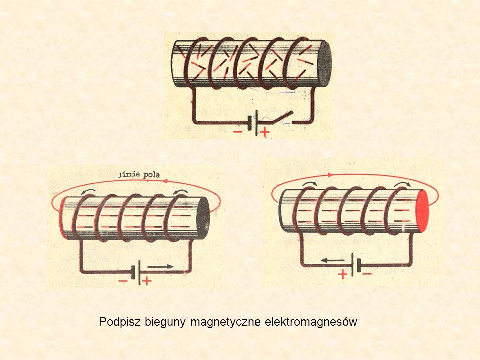 Podpisz bieguny magnetyczne elektromagnesów