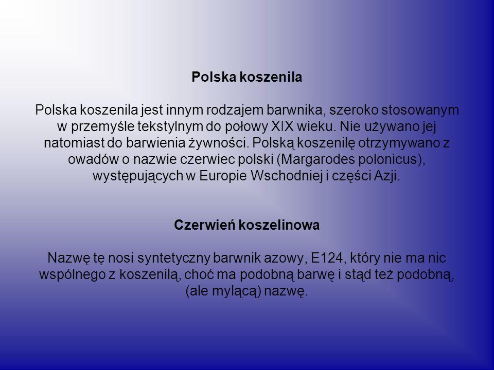 Polska koszenila Polska koszenila jest innym rodzajem barwnika, szeroko stosowanym w przemyśle tekstylnym do połowy XIX wieku.