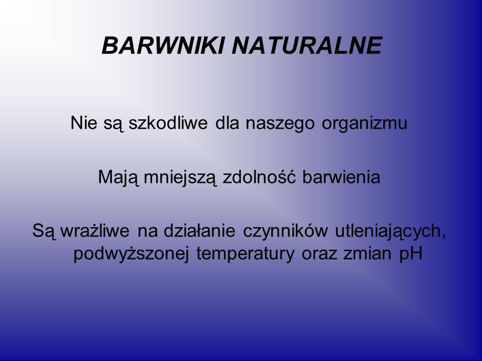BARWNIKI NATURALNE Nie są szkodliwe dla naszego organizmu