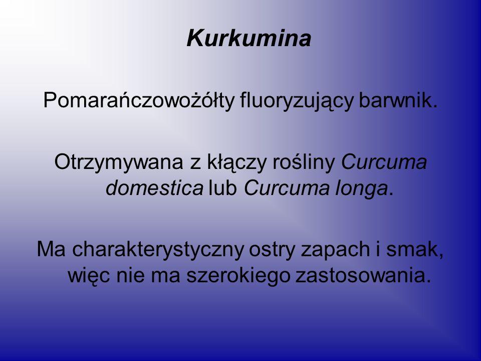 Kurkumina Pomarańczowożółty fluoryzujący barwnik.